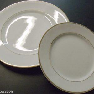 Assiette blanche filet or